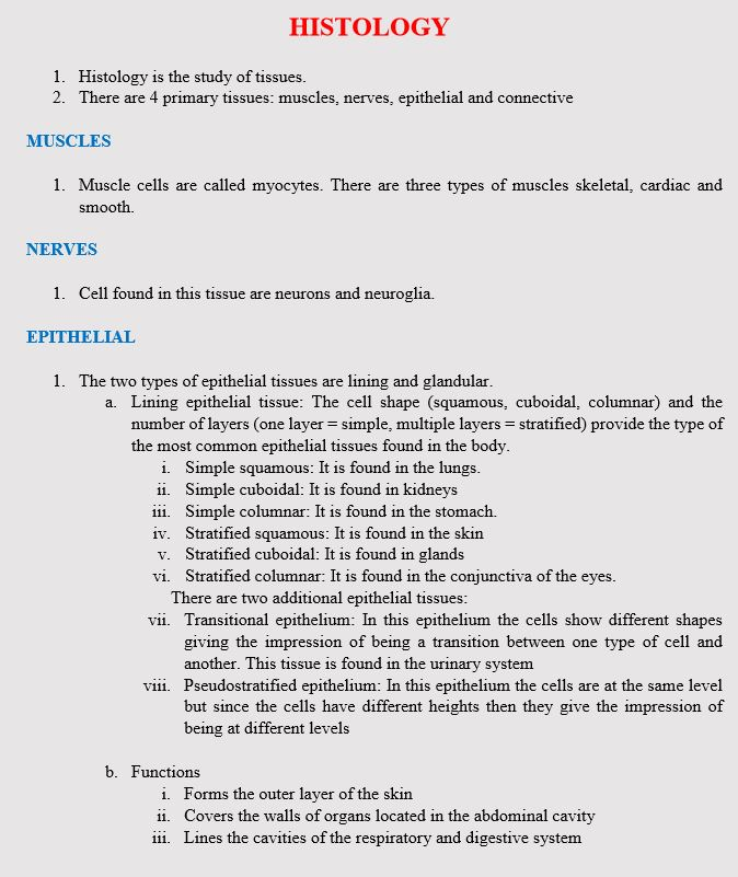 Tissues Study Guide